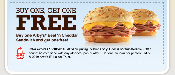 27917287445 20101006520430 Arbys Coupon: Buy One Get One Free Beef